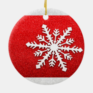 Merry Christmas/Xmas Winter Snowflake on Glitter Ceramic Ornament