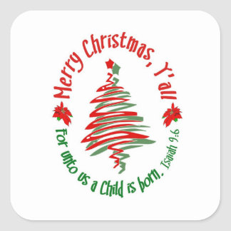 Merry Christmas Yall 2 Square Sticker