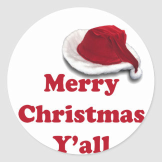 Merry Christmas Y'all! Classic Round Sticker