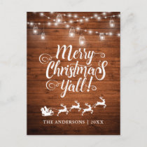 Merry Christmas Y'all Jar Lights Rustic Wood Holiday Postcard