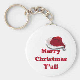 Merry Christmas Y'all! Basic Round Button Keychain