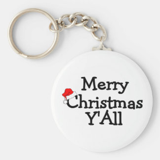 Merry Christmas Yall Basic Round Button Keychain