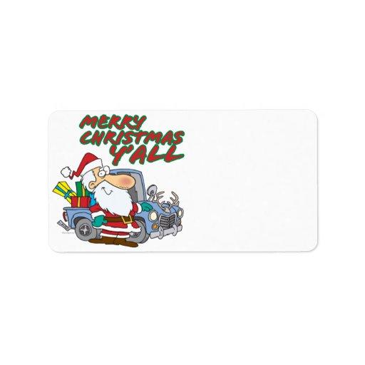 merry christmas yall redneck santa address label