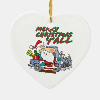 merry christmas yall redneck santa ceramic ornament