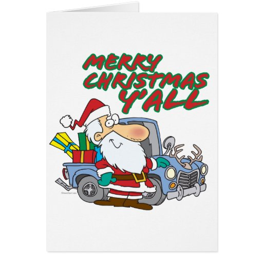 merry christmas yall redneck santa greeting cards
