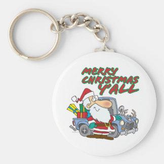 merry christmas yall redneck santa basic round button keychain