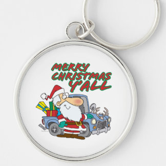merry christmas yall redneck santa Silver-Colored round keychain