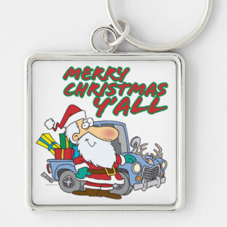 merry christmas yall redneck santa Silver-Colored square keychain