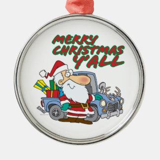 merry christmas yall redneck santa metal ornament