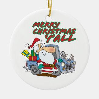 merry christmas yall redneck santa ornaments