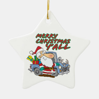 merry christmas yall redneck santa ornament