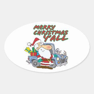 merry christmas yall redneck santa oval sticker