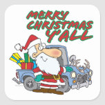 merry christmas yall redneck santa square sticker