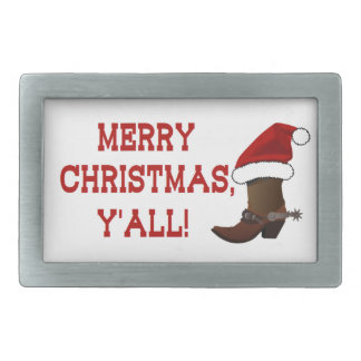 Merry Christmas Y'all - Santa Boot (White Back) Belt Buckle