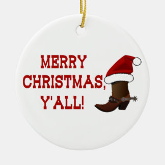 Merry Christmas Y'all - Santa Boot (White Back) Ceramic Ornament