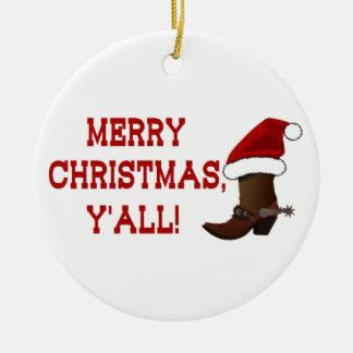 Merry Christmas Y'all - Santa Boot (White Back) Ceramic Ornament