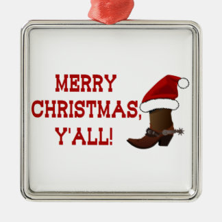 Merry Christmas Y'all - Santa Boot (White Back) Metal Ornament