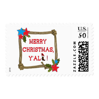 Merry Christmas Y'all - Santa Boot (White Back) Postage