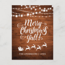 Merry Christmas Y'all String Lights Rustic Wood Holiday Postcard