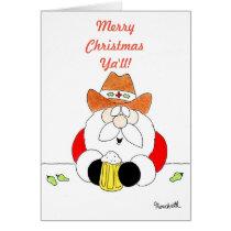 Merry Christmas Ya'll Texas Santa with Beer Card