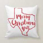 Merry Christmas Y'all Texas State Accent Pillow