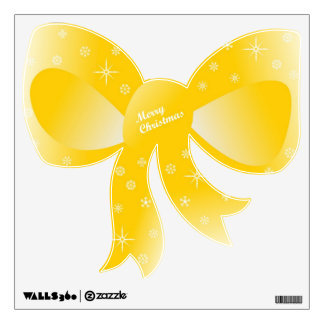 Merry Christmas Yellow Bow with stars Wall Sticker