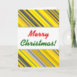 "[ Thumbnail: ""Merry Christmas!"" + Yellow & Gray Stripes Pattern Card ]"