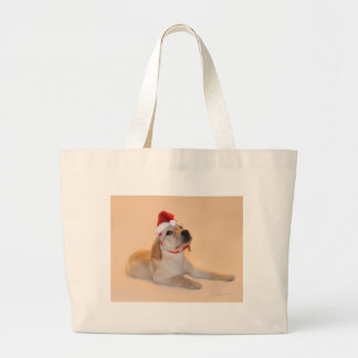 Merry Christmas - Yellow Lab Large Tote Bag