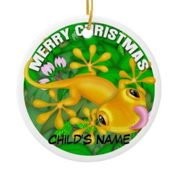 Christmas Themed Merry Christmas Yellow Lizard Ceramic Ornament