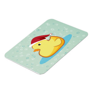 Merry Christmas yellow rubber duck premium magnet