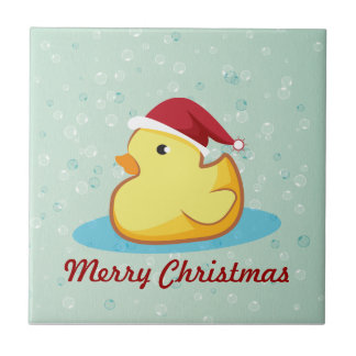 Merry Christmas yellow rubber duckie tile
