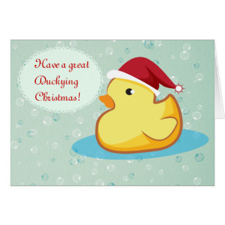 Merry Christmas yellow rubber ducky greeting card