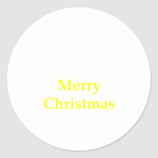 Merry Christmas Yellow The MUSEUM Zazzle Gifts Classic Round Sticker
