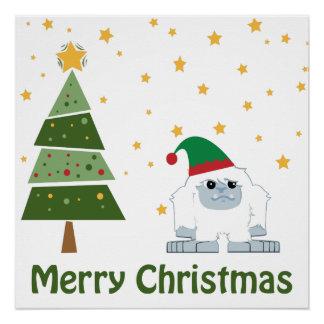 Merry Christmas Yeti Poster