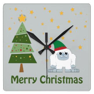 Merry Christmas Yeti Square Wall Clock