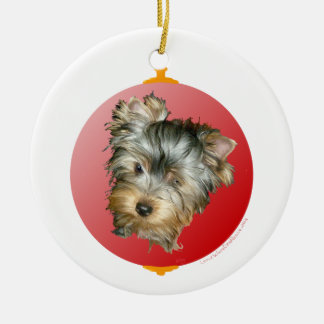 Merry Christmas Yorkshire Terrier Ceramic Ornament