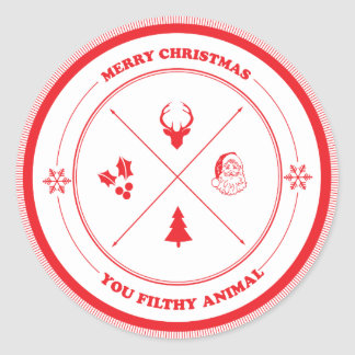 Merry Christmas You Filthy Animal Classic Round Sticker