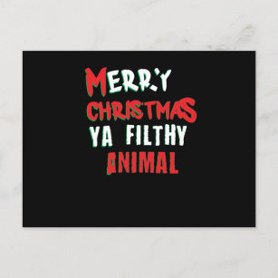merry christmas you filthy animal funny adult xmas holiday postcard