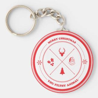 Merry Christmas You Filthy Animal Keychain