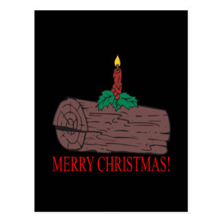 Merry Christmas Yule Log Postcard