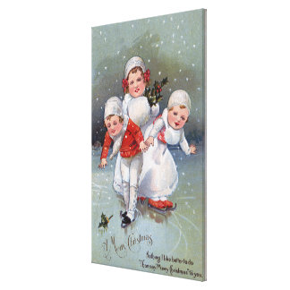 Merry ChristmasLittle Kids Ice Skating Gallery Wrapped Canvas