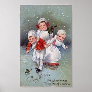 Merry ChristmasLittle Kids Ice Skating Poster