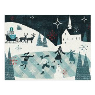 Merry Christmastime Skating Scene Postcard