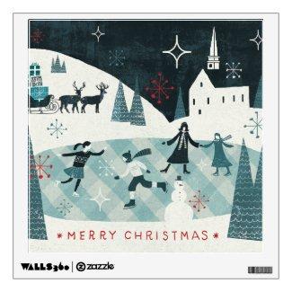 Merry Christmastime Skating Scene Room Sticker