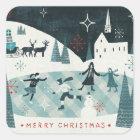 Merry Christmastime Skating Scene Square Sticker