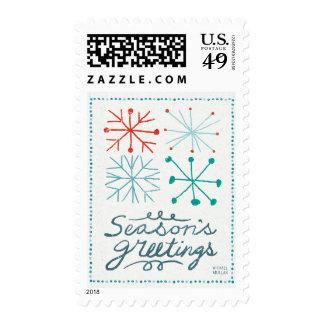 Merry Christmastime Snowflakes Postage