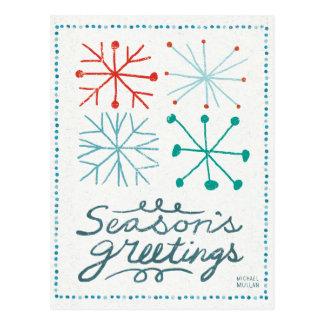 Merry Christmastime Snowflakes Postcard