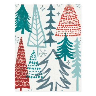 Merry Christmastime Trees Postcard