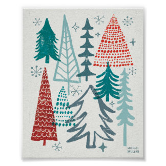 Merry Christmastime Trees Poster