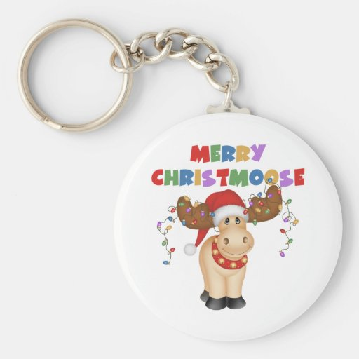 Merry Christmoose Christmas Basic Round Button Keychain